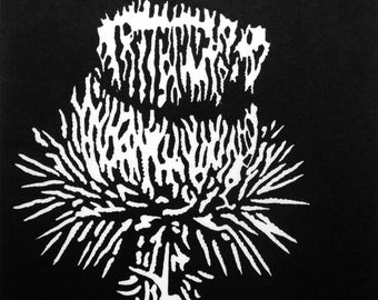 Thistle, Original Black & White Linocut Relief Print, Hand-printed Flower Garden Botanical Art Print, Limited Edition Printmaking