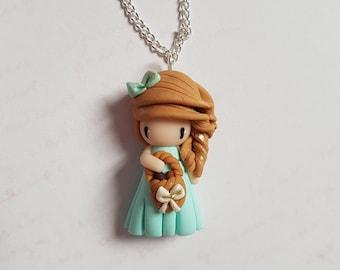 "Necklace little girl ""light brown hair, Aqua green dress and chocolate egg basket"""