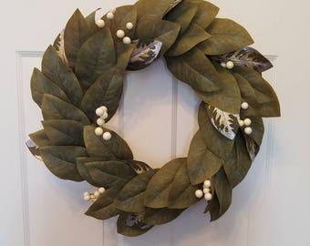 Fall wreath/ autumn wreath/ magnolia wreath/ holiday wreath/ housewarming wreath/ summer wreath F25-26