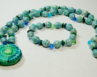Paper Bead Necklace & Bracelet Set Handmade Jewelry Blue Green Tropical