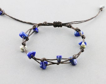 Simple Lapis Lazuli Bracelet - Adjustable Bracelet- Dark Brown Knotted