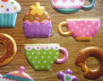 super cute tea party puffy stickers