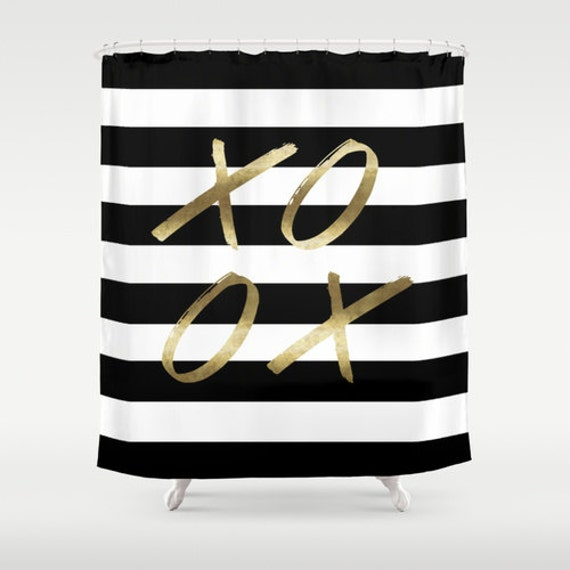 black white gold shower curtain.  Zoom Black And White Stripe Shower XOXO Gold Shower Curtain