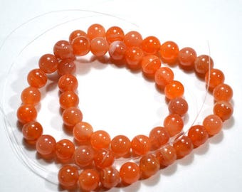 "High Quality 8mm Orange Bostwana Semi Precious Gemstone Beads - 16"" strand"