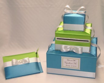Turquoise-Apple Green with White Trim Wedding Card Box-Guest Book/Pen set