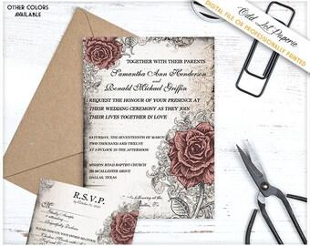 Rose Wedding Stationery, Vintage Wedding Set Floral Rose Wedding Invitation, Any Color, Printable Rose Wedding Invite Old World Floral