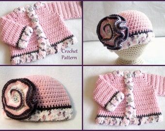 Crochet PATTERN Baby Sweater & Hat Patterns The Laura Baby Girls Set Crochet Pattern Crochet Sweater Pattern Baby GIrls Sweater Patterns