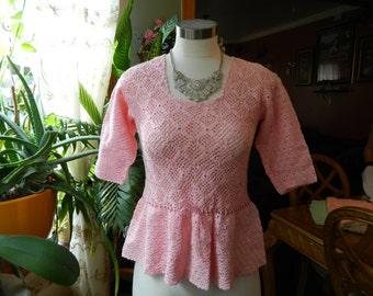 Crochet Ribbon Detail Top Size S/M
