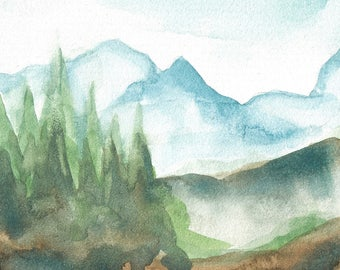 Original 4 x 4 inch watercolor mountain landscape painting by Meredith O'Neal