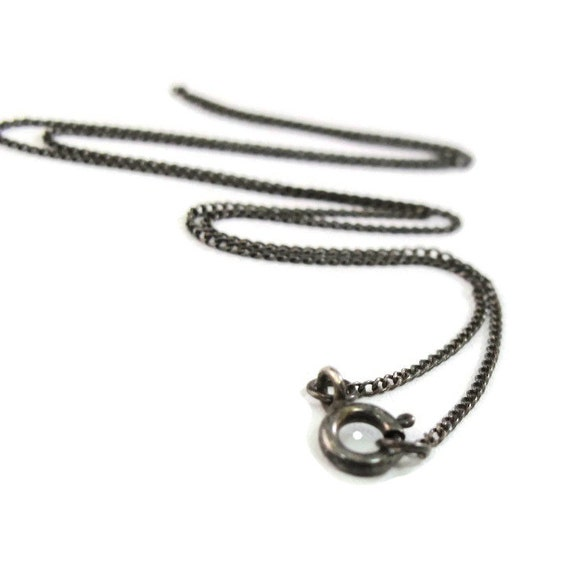 Dark Finished Chain with Spring Ring Clasp, Oxidized Sterling Silver 1.1mm, 16 Inch Curb Chain, Delicate Chain (LS)