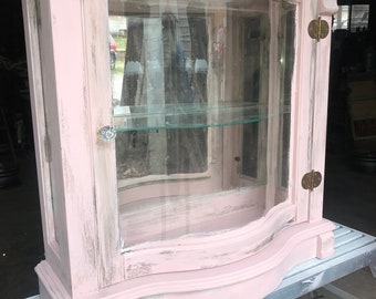 distressed glass cabinet with lighting