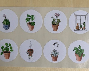 8 Stickers (houseplants and catwindow)