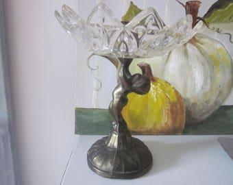 Cherub Glass Brass CANDLE Holder Pedestal SHABBY Cottage