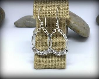 Sterling Silber texturierte Anhänger Ohrringe