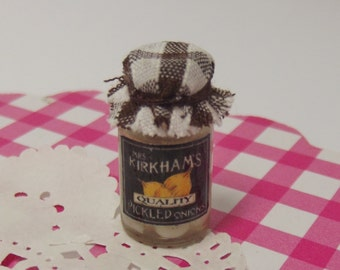 Dollhouse 1:12 Scale Miniature Jar of Handmade Pickled Onions