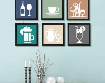 Kitchen Wall Art - Kitchen Wall Decor - Kitchen Print Set - Kitchen Collection Wall Art - Kitchen Art - Set of 6 Prints