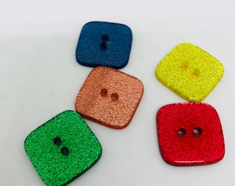 "Recycled buttons, 3/4"" sparkly bright colored square buttons"