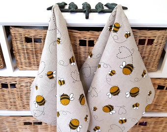 Handmade Linen Cotton Busy Bees Tea Towels Kitchen Towels Dish Towels.
