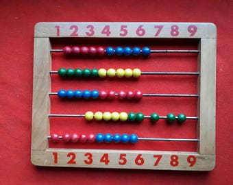 Vintage Wooden Abacus with Wooden Beads
