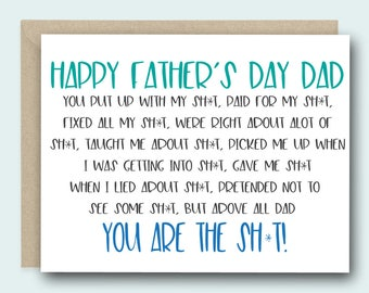 Funny Father's Day Card for Dad - Happy Father's Day Dad. You Are The Sh*t