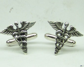 Medical Caduceus Cufflinks in solid sterling silver Free Domestic Shipping