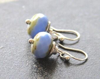 Periwinkle Czech Glass Sterling Silver Earrings, Sterling Drop Earrings