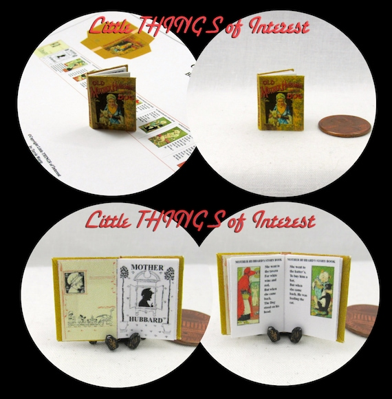 Old MOTHER HUBBARD Downloadable 1:12 Miniature Dollhouse Scale Book PDF Tutorial Printie Printable Download Nursery Rhyme Baker