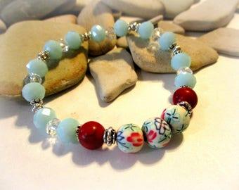 Red Flower Bracelet | Aqua Blue & Red | Polymer Clay Beads | Red Turquoise Bracelet | Glass Bracelet | Stackable Bracelets | Aqua Bracelet