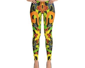 Indian Abstract Design Black Leggings