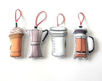 Coffee ornaments: Christmas ornament set- Coffee decor