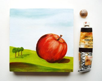 Surreal Landscape Apple Original oil painting, folk art, primitive art