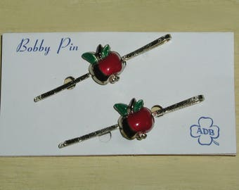 Vintage 1950's Red Green Enamel Apple Bobby Pin Hair Pins Clips on Original Card