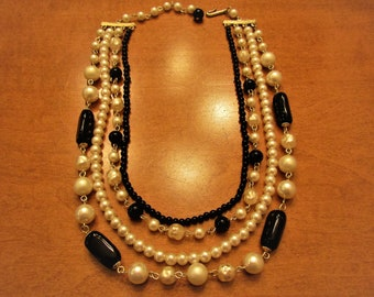 Vintage Black & White Glass Bead and Faux Pearl Graduated Choker Necklace