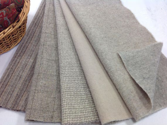 Seashore Textures Wool Fabric for Rug Hooking and Applique, Select-a-size, 5) 1/8ths or 5)1/16ths, W385, Naturals & Grays, Neutral Wools