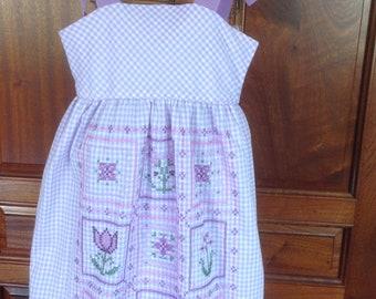 "Girl's Handmade Vintage Cotton Dress, Size 4-6--""Amanda"""
