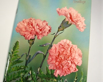 Mothers Day Greeting, Ideals, Pink Flowers, Poetry, Illustrations, Greeting Card Size, 1960's  (1547-09)