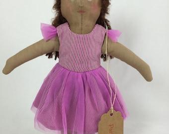 Fabric  Doll - Ballerina Doll- Rag Doll - Soft Doll - Girl Doll - Nursery Decor