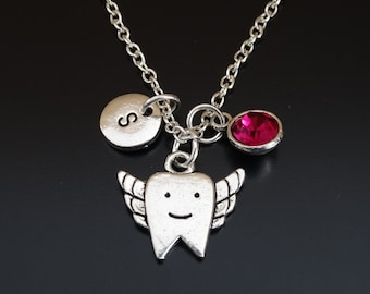 Tooth Fairy Necklace, Tooth Fairy Charm, Tooth Fairy Pendant, Tooth Fairy Jewelry, Dental Necklace, Dental Charm, Dental Pendant, Dentist