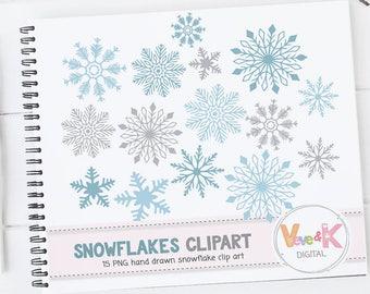 Snowflakes Clipart, Snowflakes Digital Art, Hand drawn Snowflakes Christmas Card Overlay, Winter Clipart, Hand drawn Clipart, Commercial Use