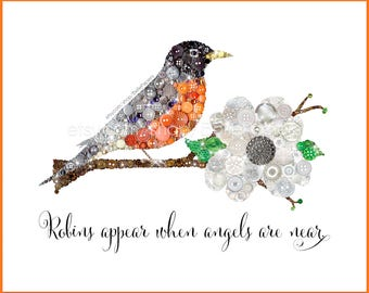 Robin Wall Art PRINT | Sympathy Gift | Lost Loved One | Robins Appear When Angels Are Near | Visitor From Heaven | Red Robin Bird Wall Art