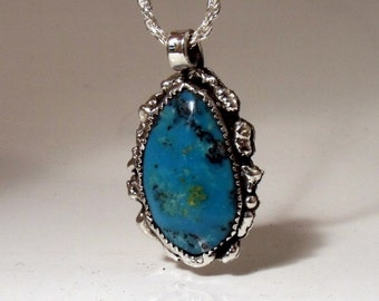 Turquoise in Freeform Sterling Silver Pendant RF050