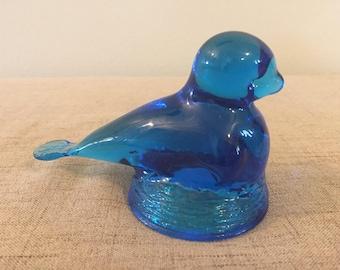 Paperweight, Blue Bird Paperweight, Vintage Paperweight, Nesting, On A Nest