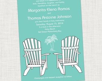 Beach Wedding Invitation, Destination Beach Wedding, Adirondack Chair, Destination Wedding, Palm Tree, Beach Invitation, Printable Digital