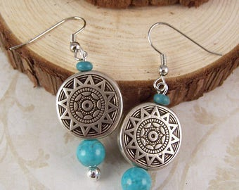 Boho Earrings Bohemian Earrings Turquoise Earrings Silver Earrings Dangle Turquoise Jewelry Bohemian Boho Jewelry Hippie Gifts for Her