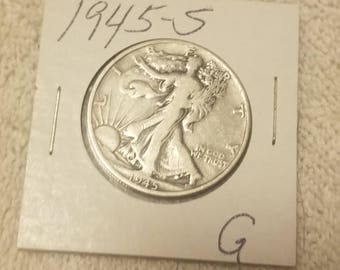 1945-S  Walking Liberty 50 cent piece Half Dollar  good  condition