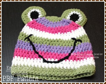 Crochet Frog Hat Pattern, Stripe Beanie, SILLY STRIPE FROGGY - pdf 120