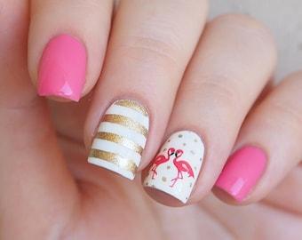 Pink flamingo nail water decals/ Flamingo nail stickers/ Tropical nail art/ Nail decoration supplies/ Nail art/ ye125