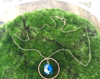 Hand Hammered Copper Hoop / Blue Howlite Faceted Nugget Pendant / Short Necklace / Nina Carina