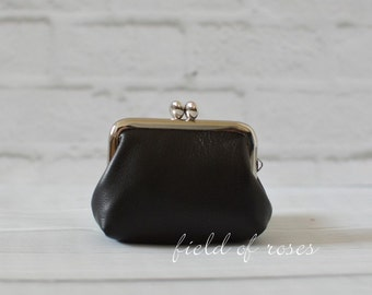 Leather Coin Purse Earbud Holder Case Black Last One
