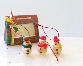 Dollhouse miniature snowman ornament scale one inch / 1:12 dollhouse miniatures Christmas tree ornament / Christmas miniatures snowman